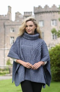 CarraigDonn Patchwork Cowl Cape, Derby Grey - $95.00
