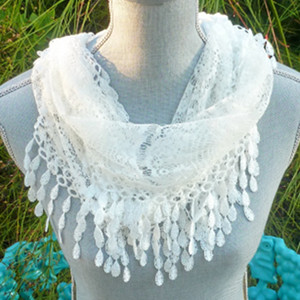 Absolutely Fabulous All-Handwork White Irish Lace Infinity Scarf - $25.75