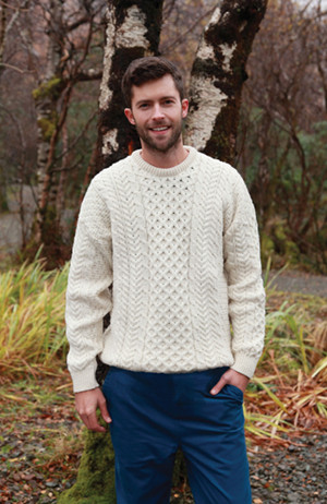 Traditional Classic Unisex Aran Knit Fisherman's Sweater - $122.00