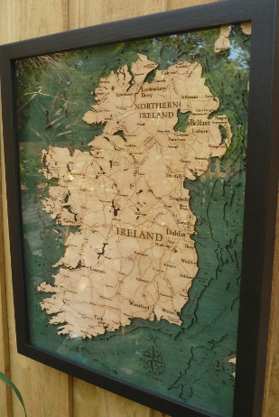 Big and Beautiful - Hand-Carved Wooded Map of Ireland - $178.00