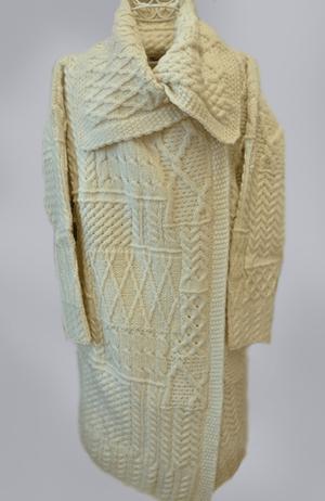 CarraigDonn Long Patchwork Coat, Natural, 100% Merino Wool - $145.00