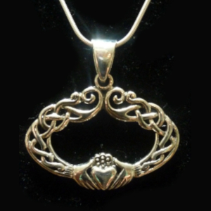 Wide and Wonderful Sterling Silver Claddagh Necklace - $74.00
