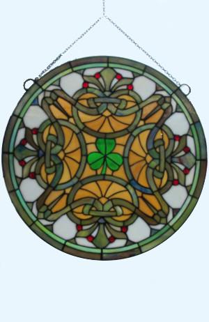 Brilliant! The Shamrock Round Irish Stained Glass Window - $195.00