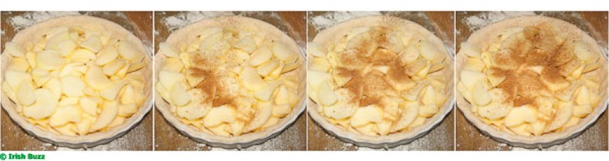 Irish apple cake being sprinkled with cinnamon, four continuous frames