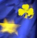 étoile sur drapeau européen qui se transforme en trèfle jaune sur fond bleu