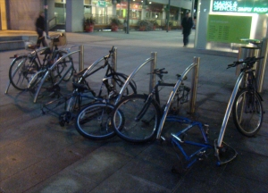 Vandalised and partly stolen bicycles in Dublin's Docklands