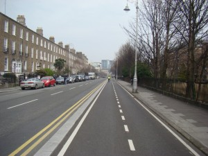 A two-way cycle path, like the one on the Grand Canal Cycle route, is more likely on the quays than a 'cycle lanes'