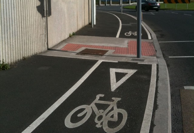 bicycle lane and poll
