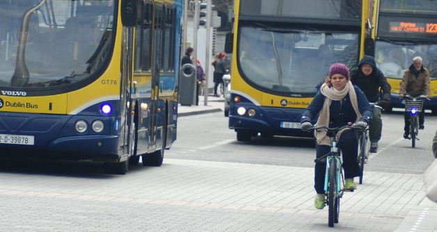 Dublin Bus and bicycles CROP