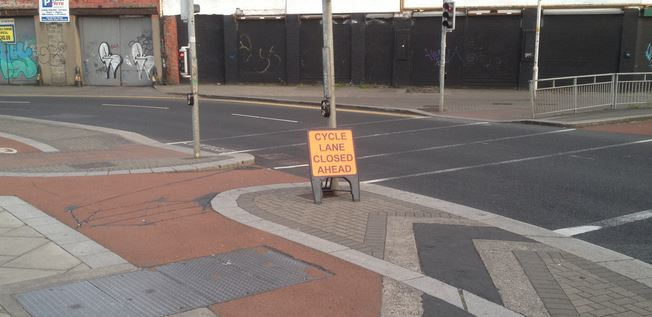Cycle lane closed