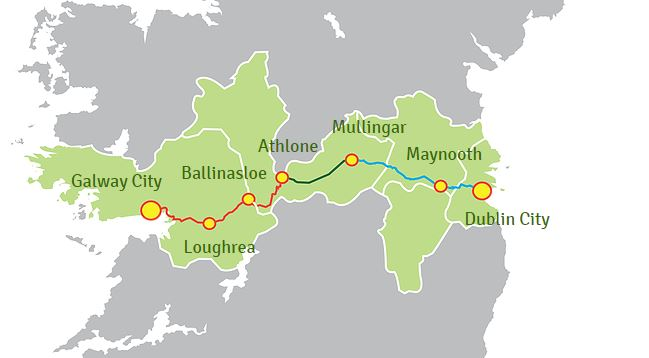 Dublin – Galway Greenway route map