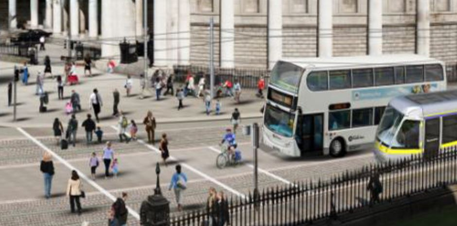 ab471bec28 IMAGE  Mixing bicycles and buses on College Green (Image  DCC NTA)