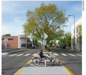 IMAGE: The design of a Portland route as it crosses a main road.