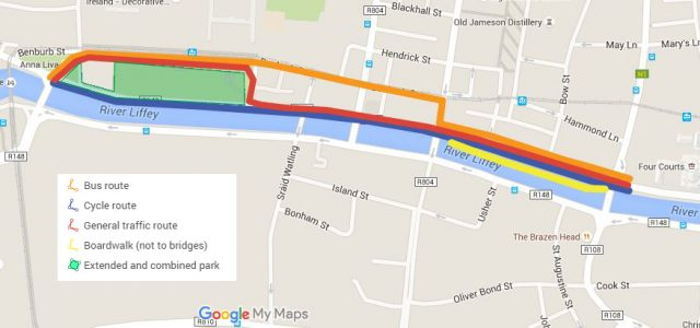Liffey Cycle Route option 6 route overview