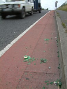 IMAGE: Road sweeping is lacking on the current substandard cycle lanes (Image: Galway Cycling Campaign)