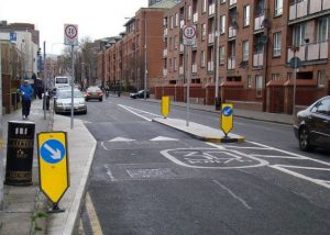IMAGE: Extra engineering can follow the roll out of 30km/h -- as it happened Dublin city centre (pictured above) and many of the streets covered already have traffic calming or some sort (shown below).