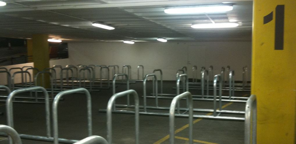 Bicycle parking at Drury Street when it first opened — it has since proven popular.