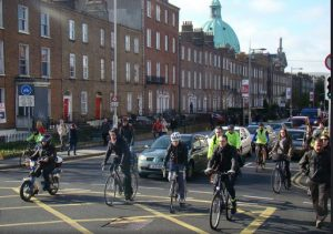 IMAGE: Cyclists from Rathmines heading towards South Richmond Street