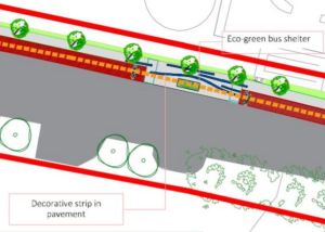 IMAGE: A bus stop is moved into the flow of the planned cycle route.
