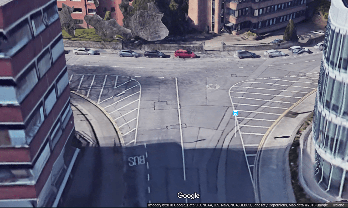 Google Maps birds eye view of the junction before it was narrowed