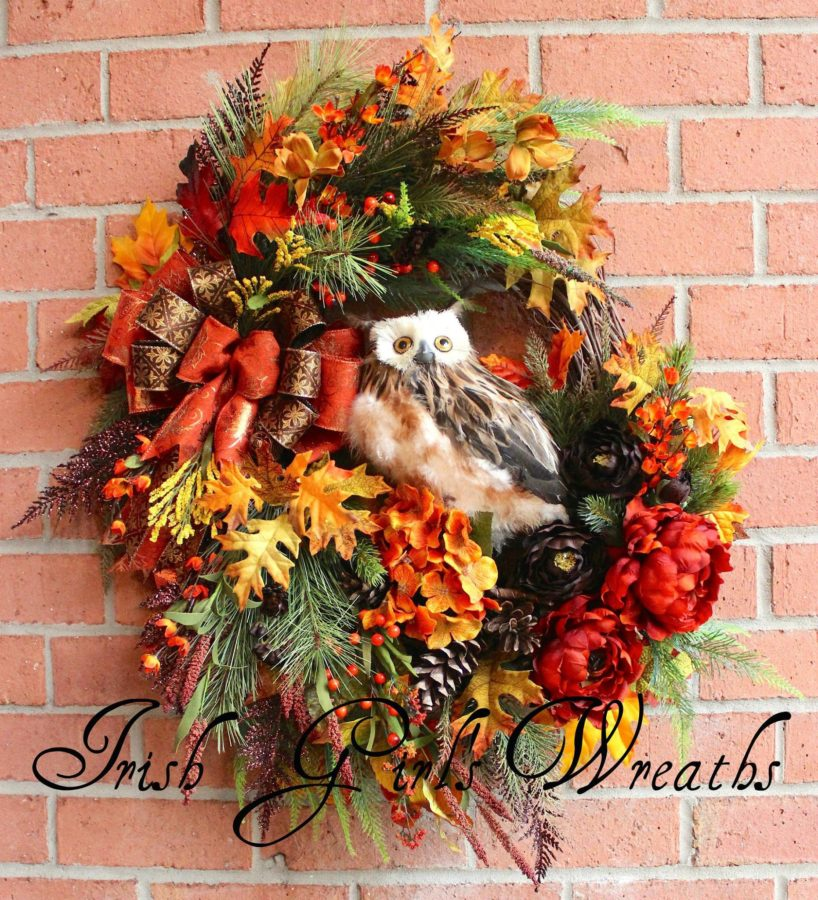 Deluxe Woodland Autumn Owl Wreath