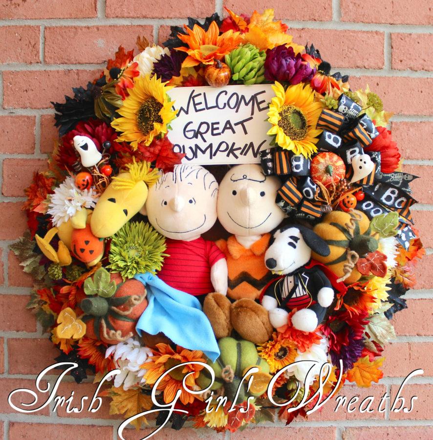 Welcome Great Pumpkin Peanuts Halloween Wreath, Custom for David