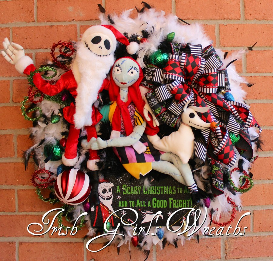 Deluxe Nightmare Before Christmas Wreath, Sandy Claws, Zero, and Sally Wreath