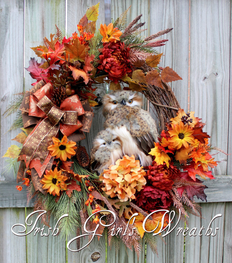 Deluxe Fall Owl Family Wreath, Large Rustic Floral Autumn Owl Wreath