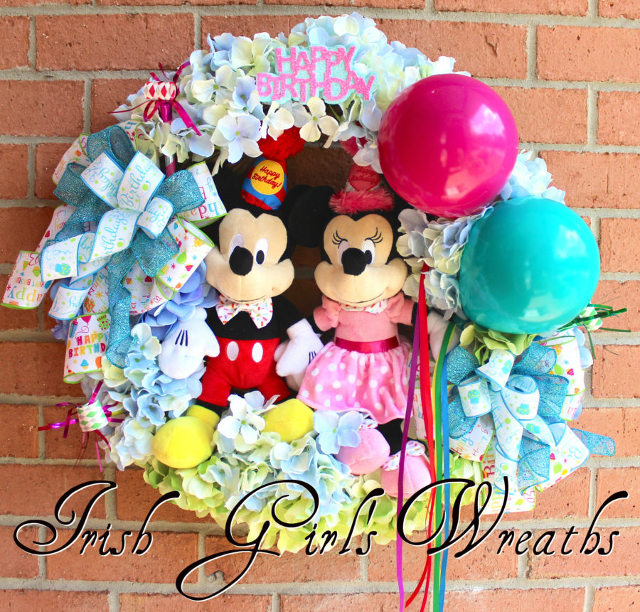 Mickey & Minnie Disney Birthday Wreath