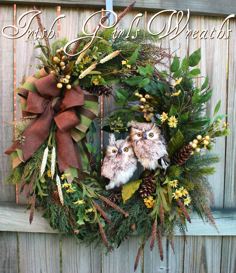 Custom Woodland Owl Couple Wreath