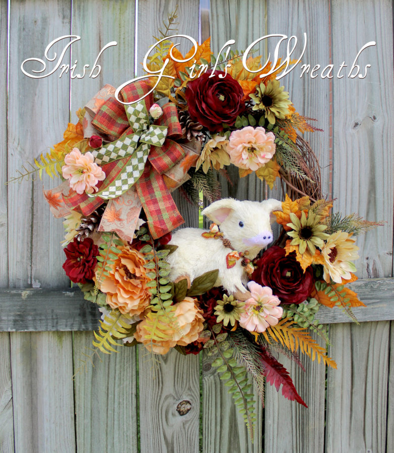 Adorable Floral Fall Farmhouse Piglet Wreath