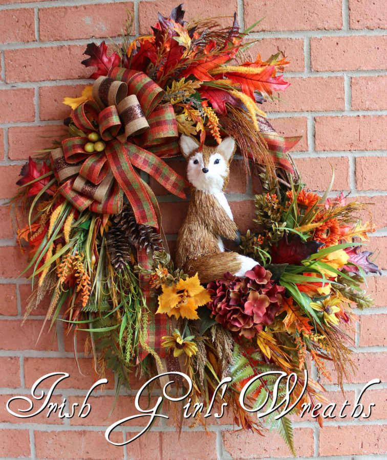 Large Rustic Fox Autumn Fall Woodland Wreath