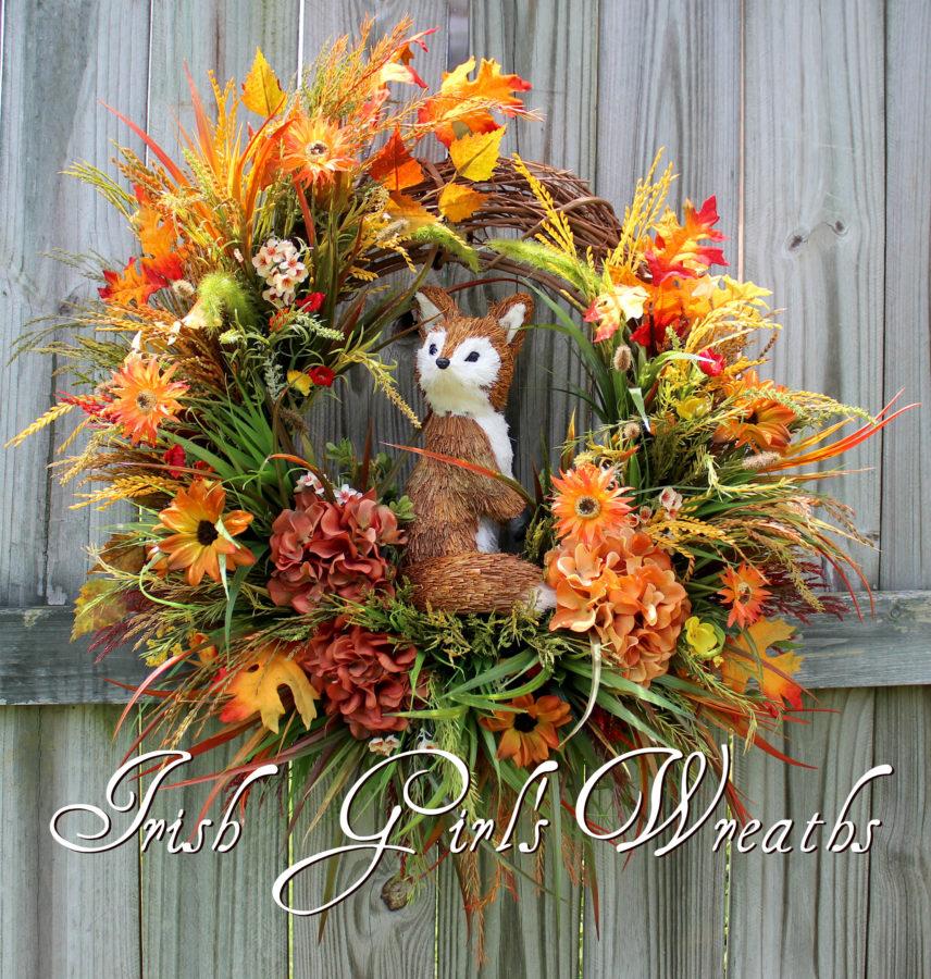 Fall Fox in the Meadow Wreath