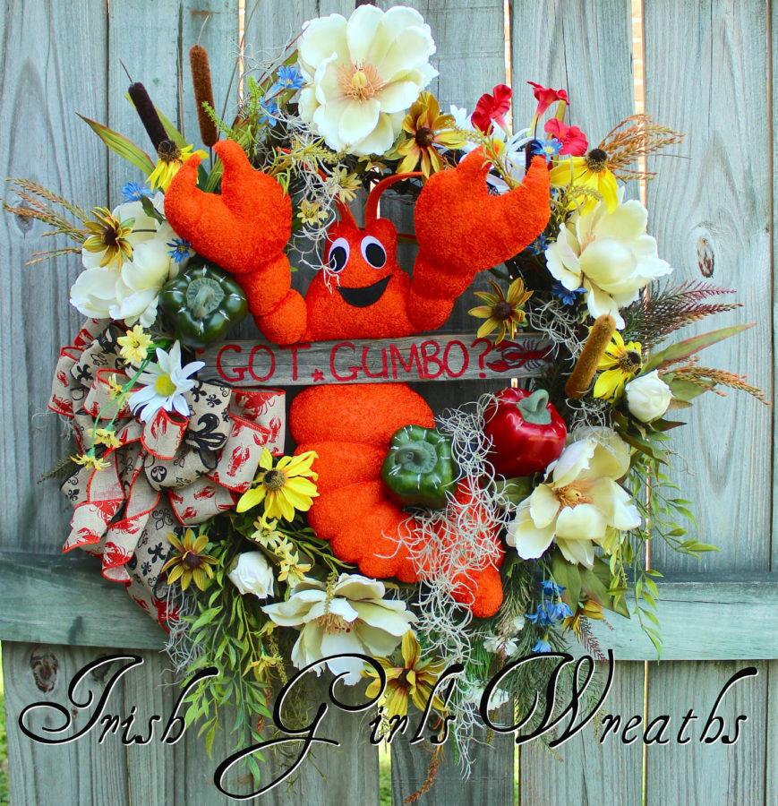 Got Gumbo Cajun Crawfish Floral Wreath #2