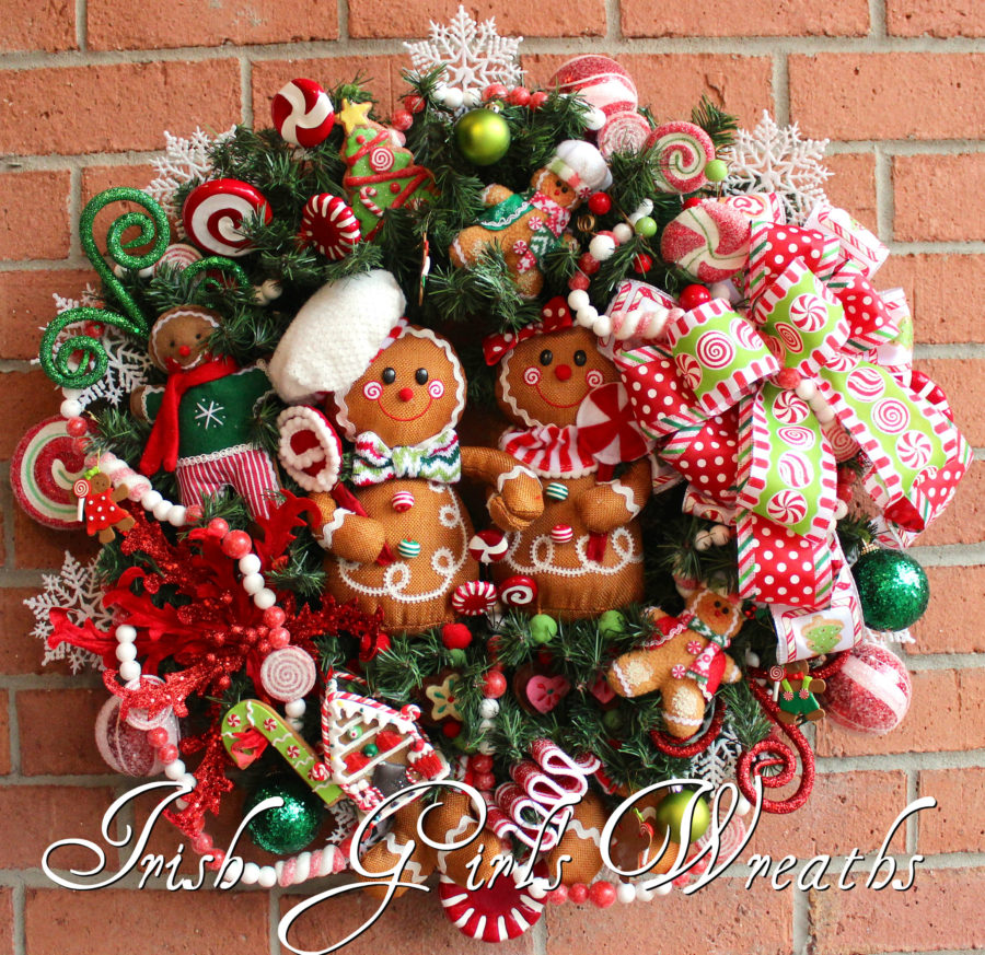 Gingerbread Family Peppermint Candy Christmas Wreath