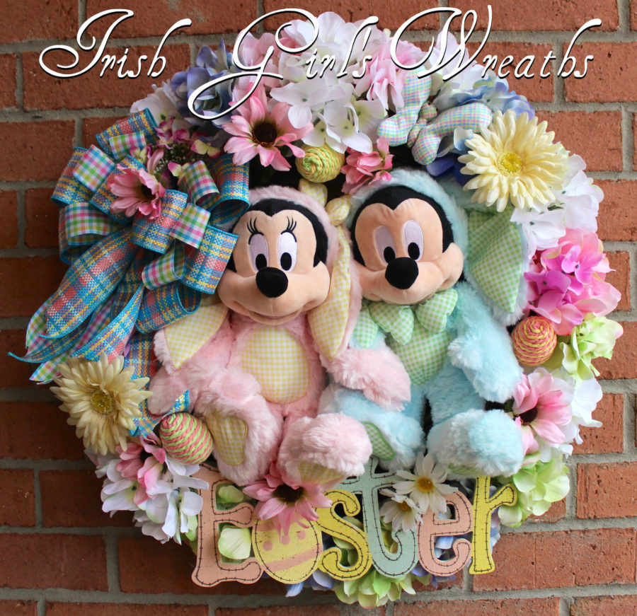 Mickey and Minnie Mouse Easter Wreath
