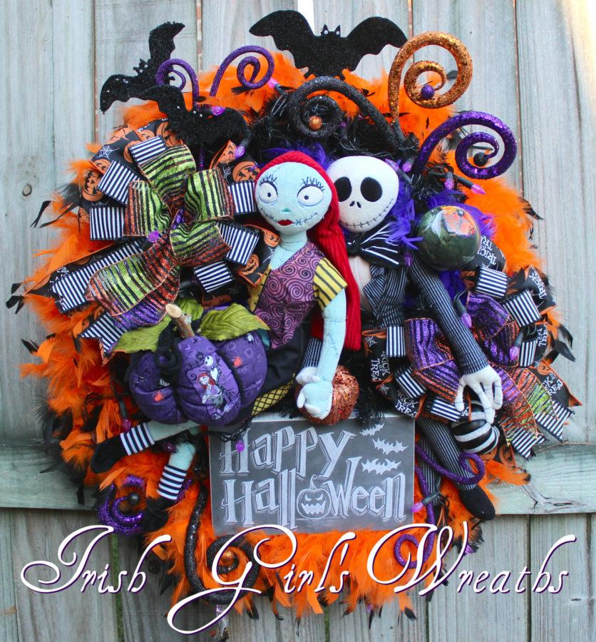 Nightmare Before Christmas Wreath, Jack and Sally Skellington Wreath, Purple lights