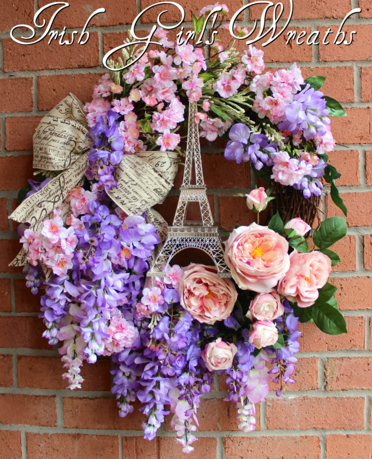 Paris in Spring Cherry Blossom and Wisteria Wreath