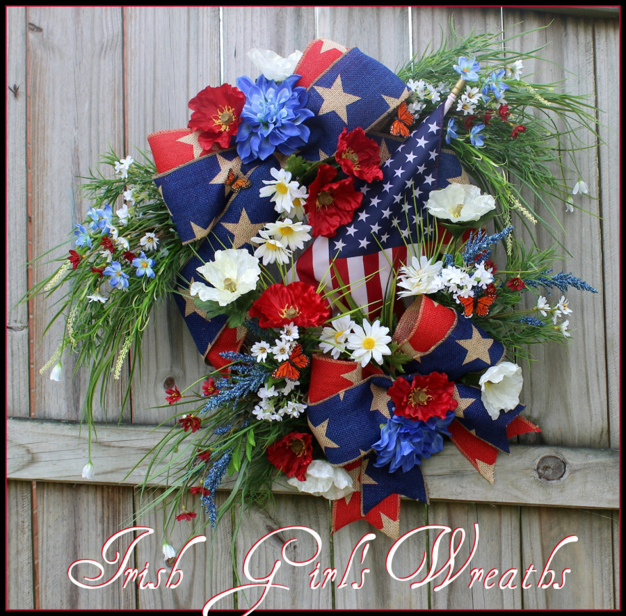 Memorial Day Patriotic red blue burlap Poppy and Daisy American Flag Wreath