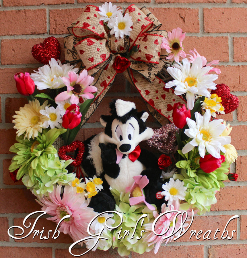 Pepe Le Pew I Pick You Valentine's Wreath
