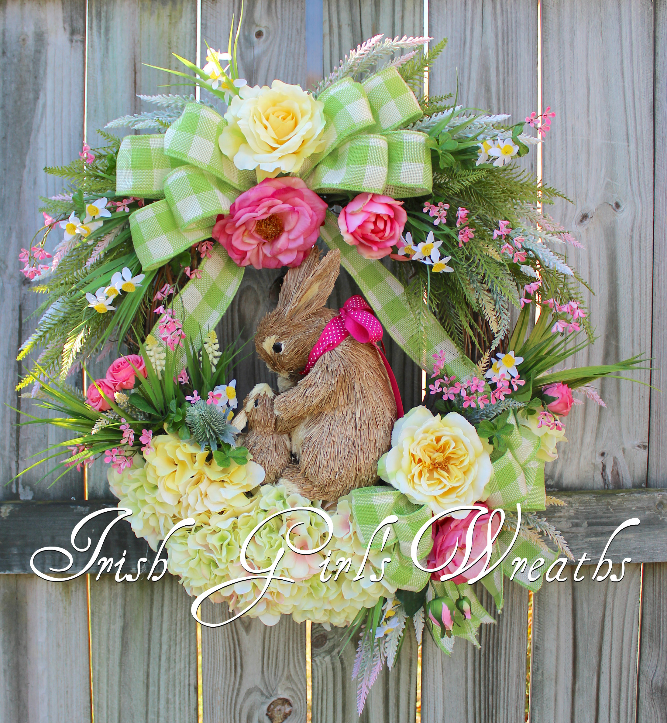 Irish girls wreaths where the difference is in the details pink pink yellow rose bunny rabbits spring floral wreath mightylinksfo