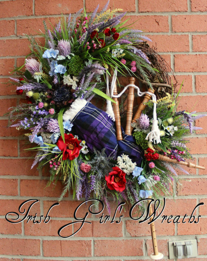 Pride Of Scotland Tartan Scottish Highland Bagpipes and Wildflowers Wreath