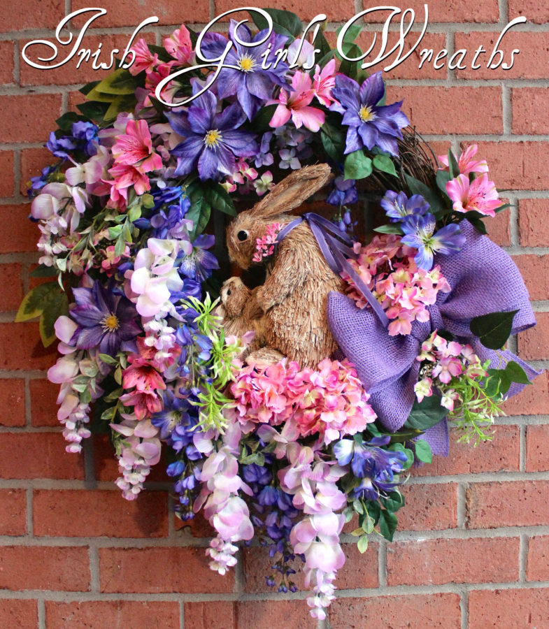 Large Purple & Lavender Wisteria Bunny Spring Wreath, Easter Wreath