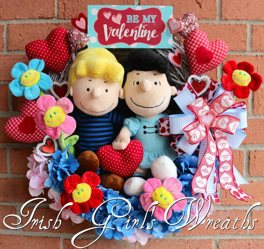 Peanuts Valentine Wreath, Lucy and Schroeder Be My Valentine Wreath