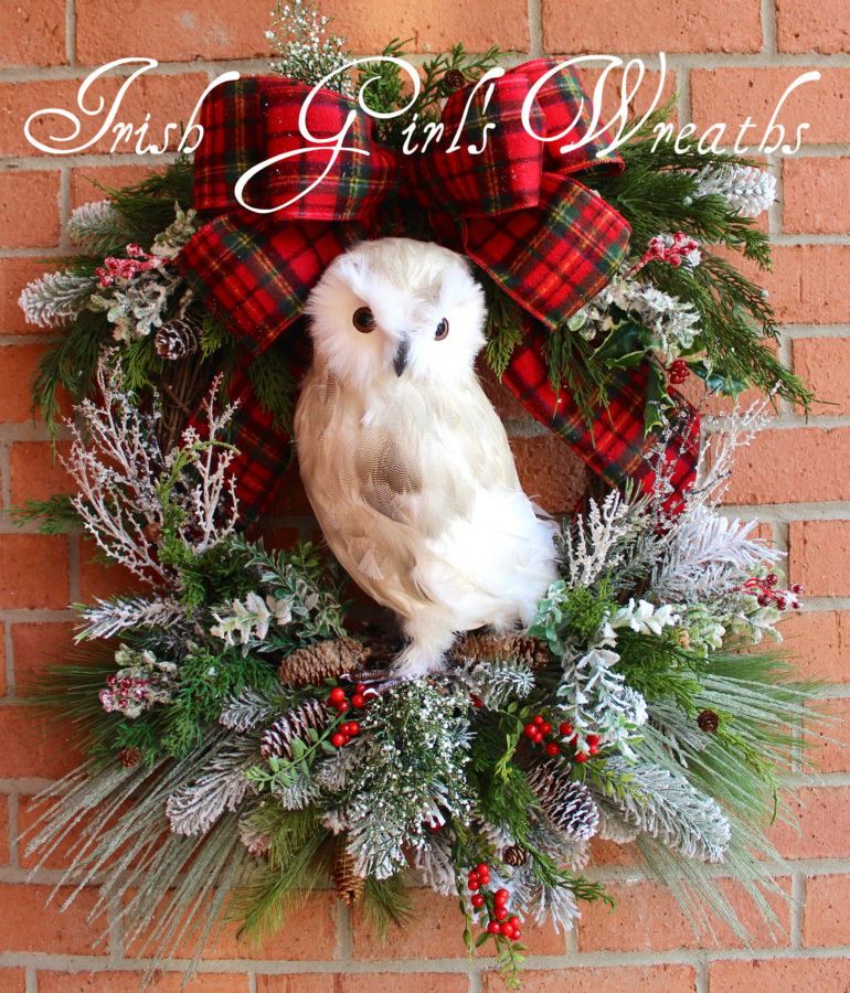 Snowy Owl Woodland Christmas Wreath