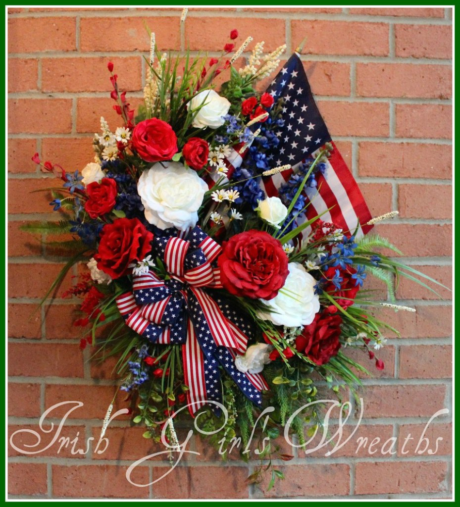 MADE To ORDER XL Patriotic Garden American Flag Wreath, Memorial Day, 4th July, red white blue, Single Flag, Rustic, Elegant, Rose
