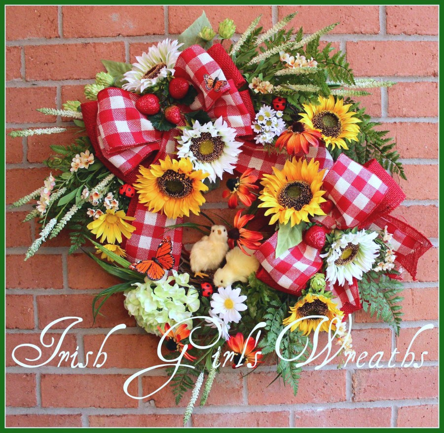 Springtime Chicks on the Farm Rustic Country Wreath