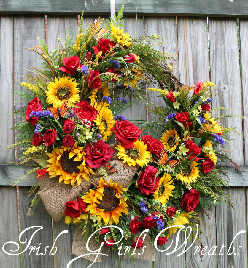 Rustic Summer Sunflower and Rose Wreath