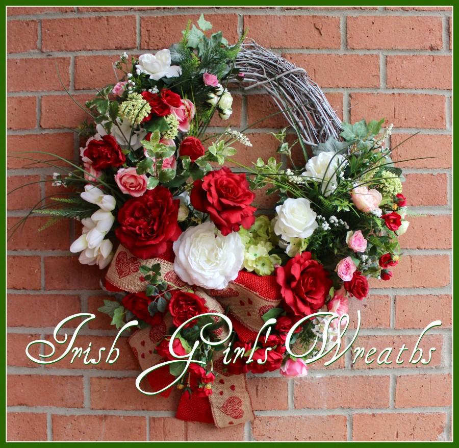Custom Valentines Garden Wreath