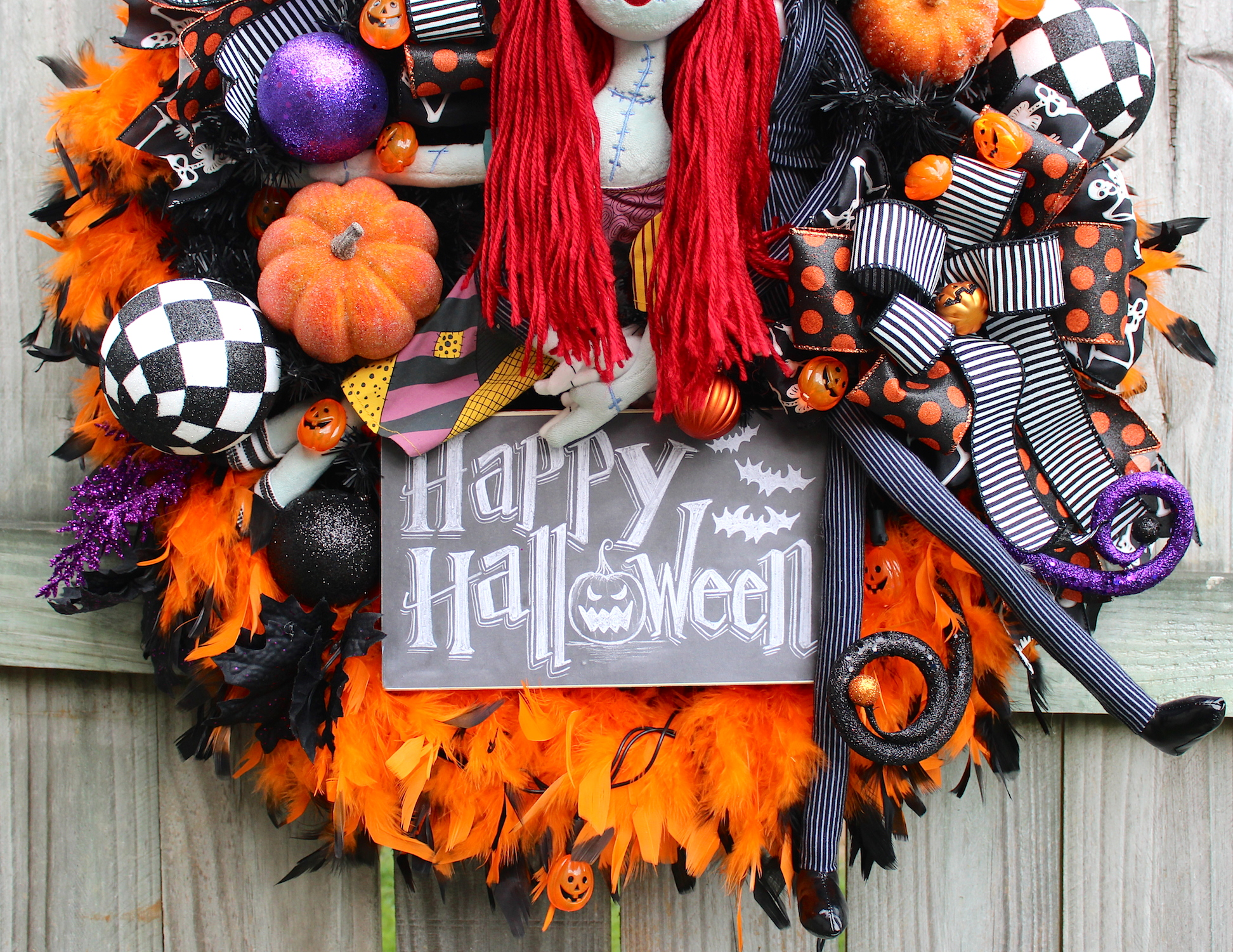 Nightmare Before Christmas Halloween Wreath, Sally And Jack Skellington